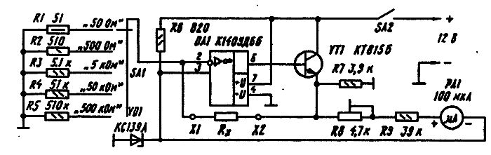 Измерение сопротивления омметром схема